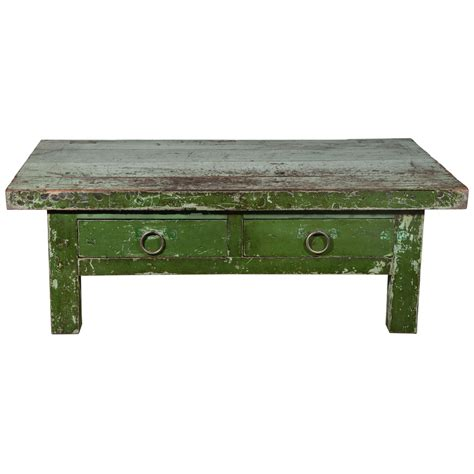 Why do people use coffee table? Wabi Sabi Green Coffee Table at 1stdibs