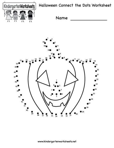 kindergarten halloween connect  dots worksheet