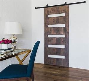 the mid century 5 panel door adds elegance and a modern With 5 panel glass barn door