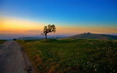 Tuscany Hill Mountain Wallpapers Landscape Trees Italy