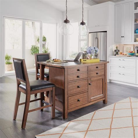 Home Styles Americana White Kitchen Island With Drop Leaf