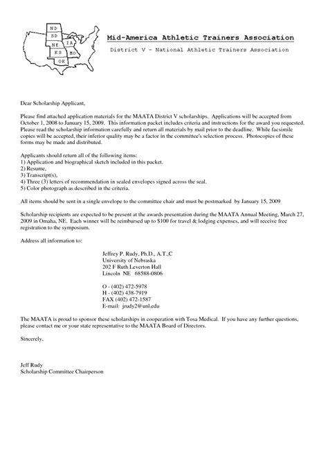 sle cover letter for scholarship the letter sle