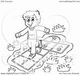 Hop Playing Clipart Boy Happy Scotch Cartoon Outlined Royalty Vector Visekart Illustration sketch template