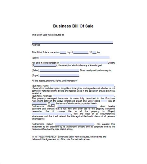 sale of business agreement form business bill of sale 7 free word excel pdf format
