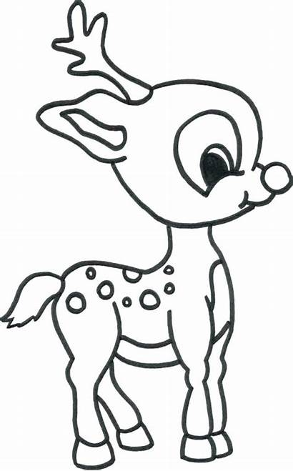 Rudolph Reindeer Nosed Drawing Coloring Pages Printable