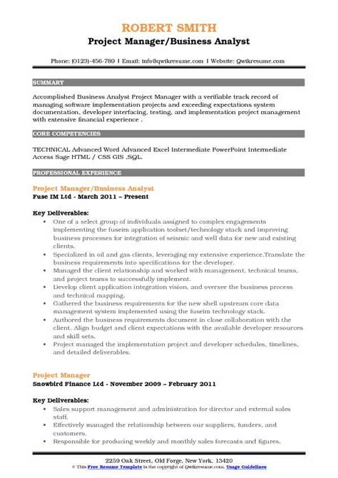 Resume Defined by Sle Resume Of Business Analyst Software Business