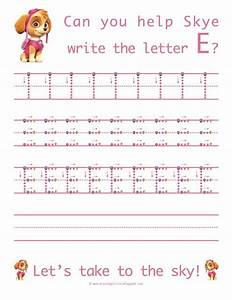 learn to write the uppercase letter e with skye from paw With paw patrol learning letters
