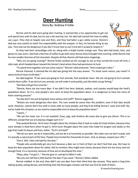 reading comprehension worksheets grade 6 reading