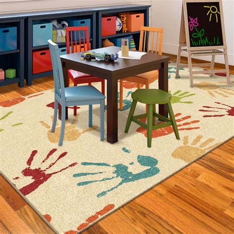 kids hand prints area rug colorful fun kids bedroom