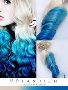 Blaue Haare Ombre : blond turqoise blau ombre clip in remy echthaar extensions c015 c015 de ~ Frokenaadalensverden.com Haus und Dekorationen