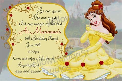 beauty   beast birthday invitations party ideas