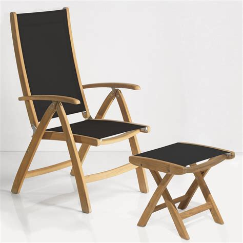 rivera teak outdoor sling reclining chair and foot rest