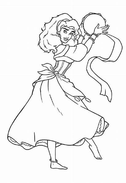 Esmeralda Coloring Princess Disney Colorir Sheet Line