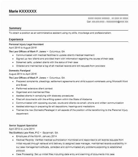 Personal Injury Paralegal Resume Sle by Personal Injury Assistant Resume Sle Livecareer