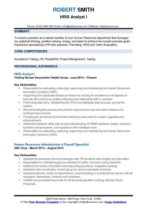 Give Me An Exle Of A Resume by Hris Analyst Resume Sles Qwikresume