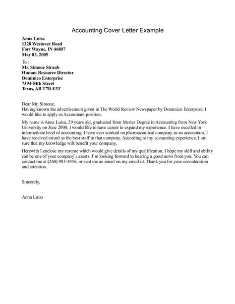 accounting articling student cover letter sle