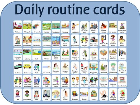 time  daily routine card daily routines