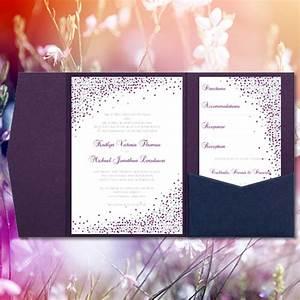 pocket wedding invitations confetti plum purple With plum pocketfold wedding invitations