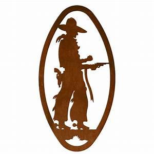 Pistol cowboy cameo metal wall art for Best brand of paint for kitchen cabinets with wire sculpture wall art