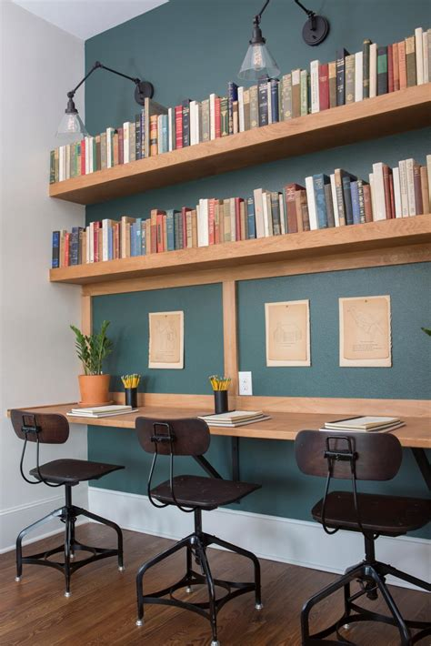 Rustic Teal Home Office with Neutral Open Bookshelves | HGTV