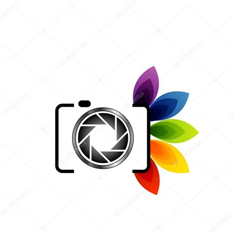 photography logo  colorful leaves stock vector