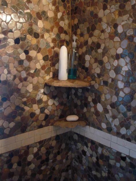 river rock bathroom ideas shoo shelves in a riverstone shower