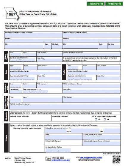missouri dmv vehicleboat bill  sale form