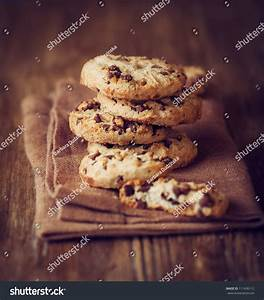 Stacked Chocolate Chip Cookies On Brown Napkin Stock Photo 111436112 : Shutterstock