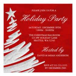 red and silver christmas tree holiday party 5 25x5 25 square paper invitation card zazzle