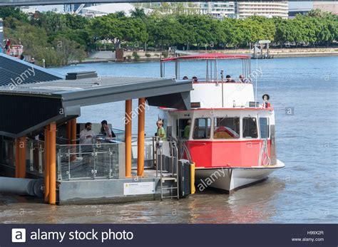 Boat R Brisbane by Cityhopper Ferry Boat At Terminal On Brisbane River