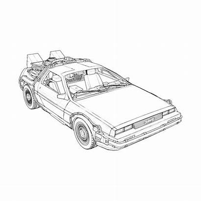 Delorean Future Drawing Machine Line Drawings Paintingvalley