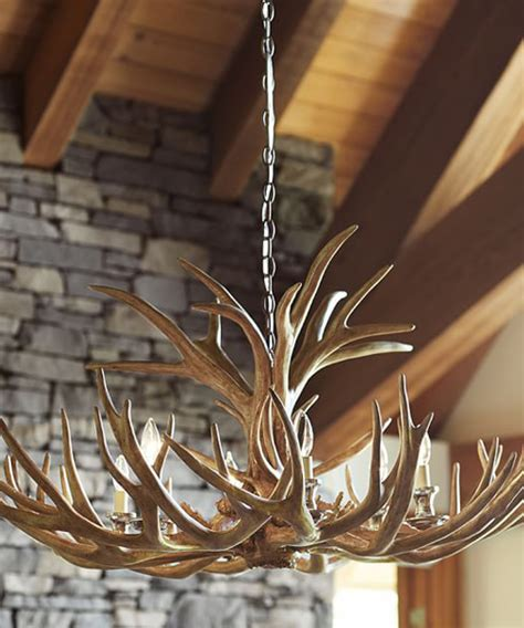 faux deer antler chandelier rustic chandeliers lodge cabin lighting