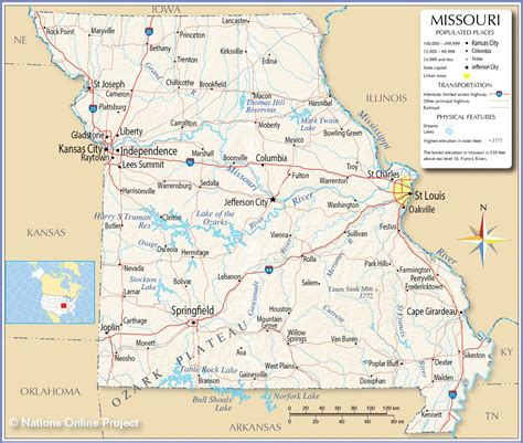 Reference Map of Missouri, USA - Nations Online Project