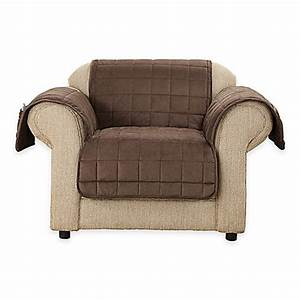 buy sure fitr deep pile velvet chair cover in chocolate With armchair covers to buy