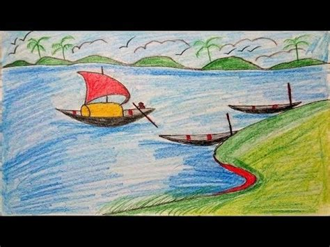 Village Boat Drawing by How To Draw Scenery Of Village River With Boat Landscape