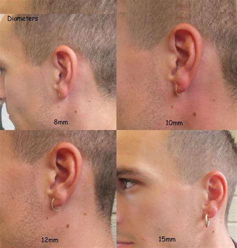 mens hoop earring thick gauge sterling silver single