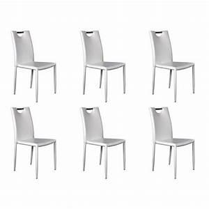 Chaise Blanche Pas Cher : kira lot 6 chaises blanches achat vente chaise salle a manger pas cher couleur et ~ Teatrodelosmanantiales.com Idées de Décoration