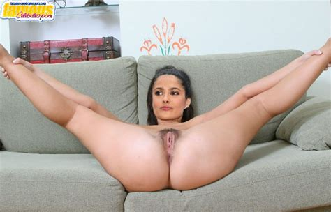 A Lot Of Great Photos With Nude Salma Hayek Showing Her Hairy Pussy