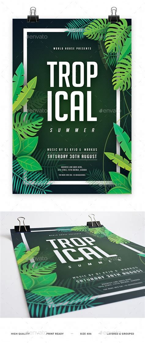 Flyer music background poster event show design vector. Tropical Summer Night Party Flyer Template PSD. Download here: https://graphicriver.net/item ...