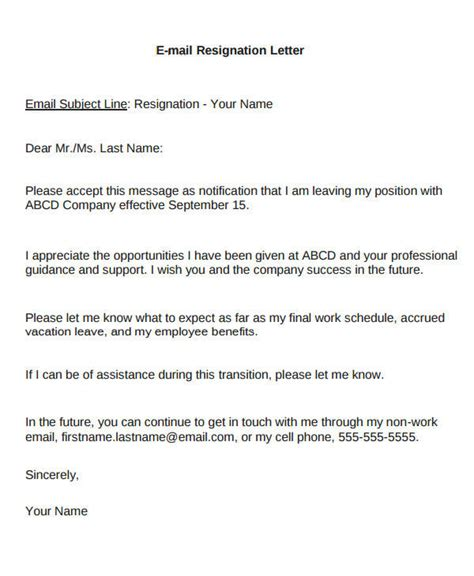 email resignation letter sample  examples  word