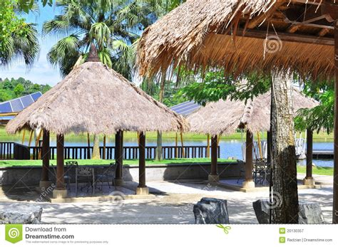 tiki tropical hut stock image image of greenery palm