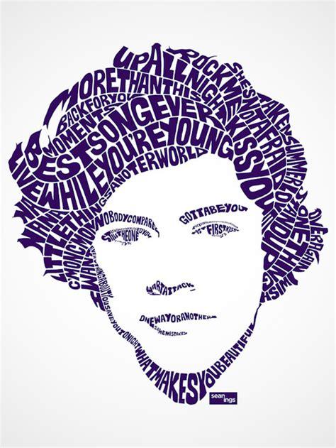 song lyrics artist creates typographic portraits