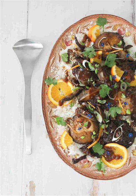 Portobello Mushrooms With Prunes & Orange Sauce