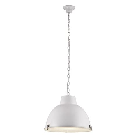 bazz 1 light white industrial pendant with white metal