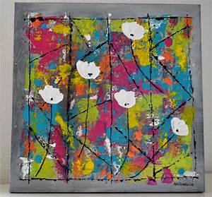 Tableau Moderne Coloré : tableau abstrait color tableau moderne abstrait fleurs peinture contemporaine 30x30 ~ Teatrodelosmanantiales.com Idées de Décoration