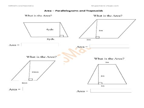 area of a parallelogram worksheets free worksheets library