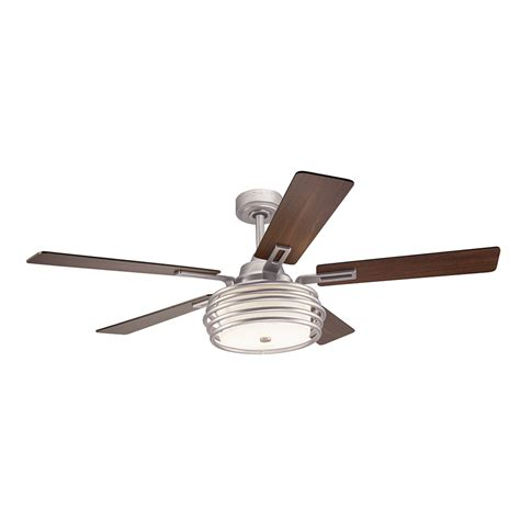 52 brushed nickel ceiling fan shop kichler bands 52 in brushed nickel indoor downrod