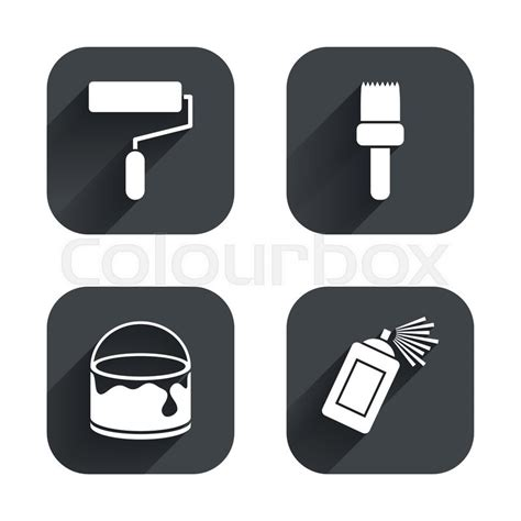 spatula brush set painting roller brush icons spray can and of