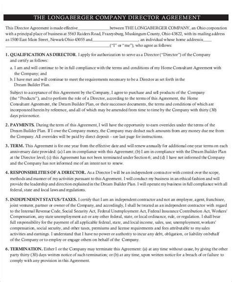 director agreement templates  sample