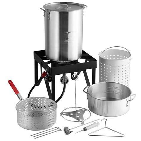 fryer turkey steamer kit qt pot deluxe backyard aluminum deep propane lp burner seafood fryers steam btu cooking ad fry